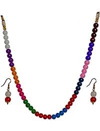 MD Design Multicolour Single Strand Pearl NeckChain Set For Women And Girls