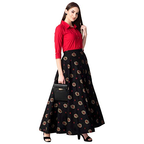 KHUSHAL Women's Rayon Party Wear Top with Long Skirt Set (Red, Medium)