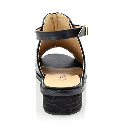 Essex Glam Sandalo Donna Peep Toe Pelle Sintetica Tacco Basso Nero Sintetico