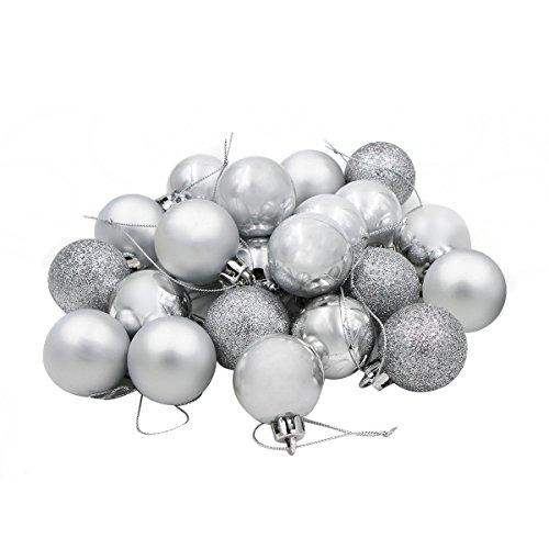 Coolwest 4cm natalizie palle set confezione da decorazioni per l' albero di natale 24 pezzi (argento)