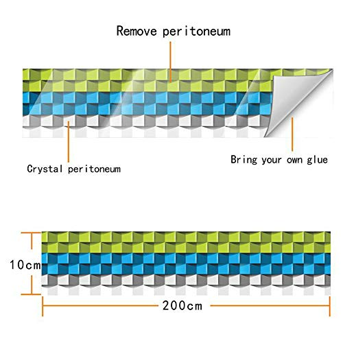 decalmile Bordüre Wandsticker Selbstklebende 3D Crystal Film Fliesenaufkleber Baseboard Aufkleber Schlafzimmer Schlafzimmer Küche Badezimmer...