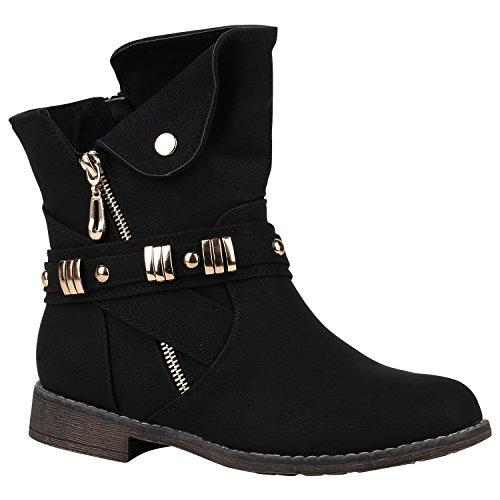 Damen Schlupfstiefel Schnallen Gefütterte Stiefeletten Winter Schuhe 149741 Schwarz Nieten 38 Flandell