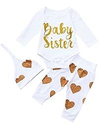 Ropa para bebés,Ropa para niños, (0-24M) Carta de Manga Larga de bebé Amor Imprimir Top Hare + Pants + Hat Set de Tres Piezas Baby Sister,3PCS