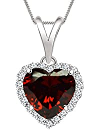 "Silvernshine 7mm Garnet & Sim Diamond Halo Heart Pendant 18"" Chain In 14K White Gold Fn"