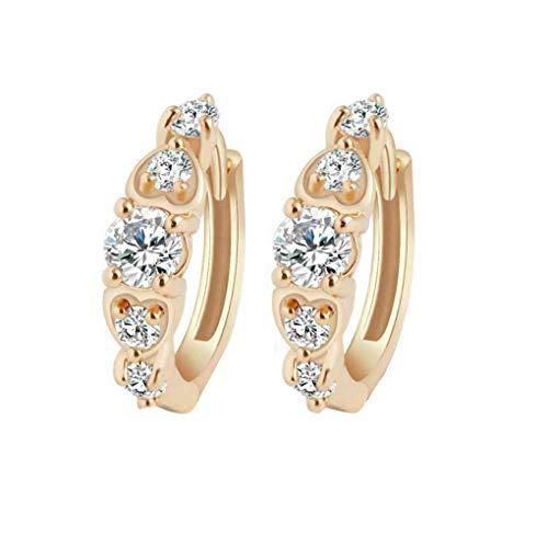 Diamante Compact (Laileya Frauen Compact Diamante Kleine Goldfarben-Kristallband-Ohrringe für Engagement/Hochzeit/Jahrestag Geschenke)