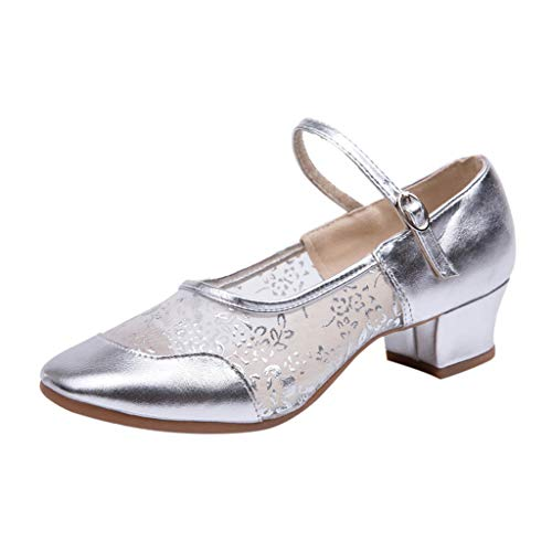 Deloito Damen Mode Freizeit Einzelne Schuhe Gaze Schnalle Strap Quadratische Fersen Rumba Walzer Prom Schuhe Ballsaal Latein Salsa Tanzschuhe (Silber,42 EU) Strap Wedge Flip Flops