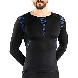 Sport functional underwear Men's long sleeve shirt Seamless by celodoro black / blue Size: S / M
