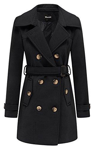 Wantdo Damen Zweireiher Mantel mit Gürtel Wintermantel Schwarz X-Large
