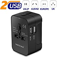 Adattatore Universale da Viaggio con 2 port USB MAXAH Tutto in uno adattatore All-in-One Universal World Wide Travel Adapter con indicatori accensione e 2 USB per Cina EU UK Australia USA Giappone --- 2 USB + 2.1 A (Nero)