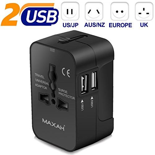 Adaptateur prise universel pour un meilleur voyage MAXAH Adaptateur de voyage avec 2 ports USB adaptateur prise double usb Tout en un adaptateur USB a...