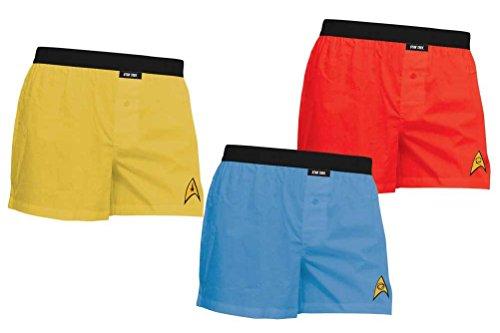 Star Trek  Herren Unterwäsche, Durchgehend Gr. Medium, Gold, Blue, Red (Kirk Captain Gold Shirt)