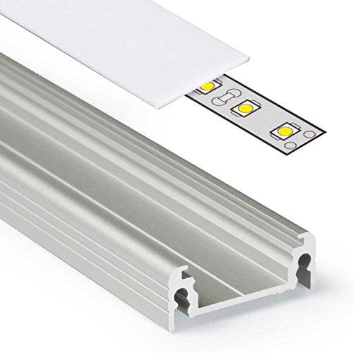 2m Aluprofil SURFACE14 (SU14) 2 Meter Aluminium Profil-Leiste eloxiert für LED Streifen - Set inkl Abdeckung-Schiene milchig-weiß opal mit Montage-Klammern und Endkappen (2 Meter milchig slide)