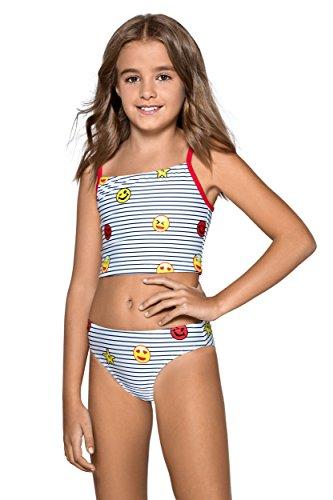 Kider/Mädchen Bikini, Tankini, Badeanzug, 7-13 Jahre, L89 Gr. 10-11 Jahre 152 cm, Emoji pattern