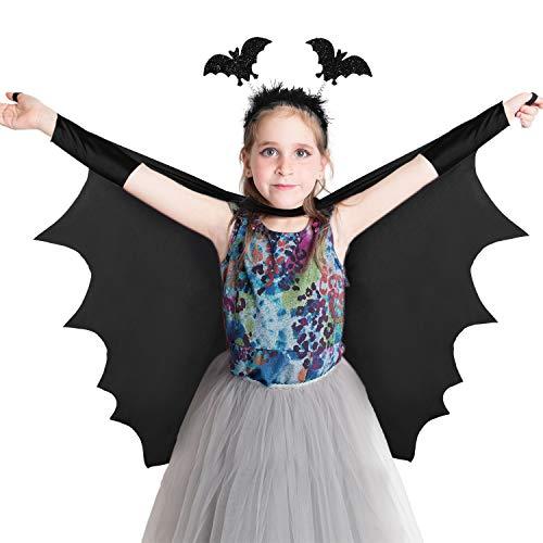 SATINIOR 2 Stücke Kinder Vampir Fledermaus Kostüm mit Fledermaus Haarband Unisex Halloween Fledermaus Flügel Vampir Kostüm Outfits Set für lustige Cosplay Party
