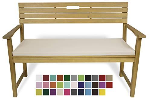 Rollmayer Bankkissen Bankauflage Sitzkissen Bankpolster Auflage für Bänke in Haus und Garten Kollektion Vivid, 1 Stück (Ecru 2, 140x40x4cm)