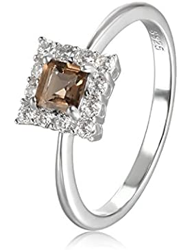 JewelryPalace Succinct 0.5ct Square-Cut echten rauchigen Quarz Halo Ring 925 Sterling Silber