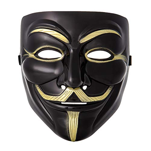 Schwarz Guy Kostüm - Ultra Schwarz Guy Fawkes Erwachsene Maske Hacker Anonymous V Wie Vendetta Gesichtsmaske Halloween Kostüm mit Elastischem Riemen Guy (1)