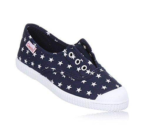 sports shoes 646c7 3cb83 CIENTA - Scarpa Blu in Tessuto, Made in Spain, con Motivo con Stelline  Bianche, Inserto Elasticizzato, Bambino, Ragazzo-27