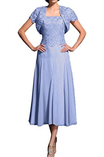 Promgirl House Damen Elegant A-Linie Spitze Brautmutter Abendkleider Ballkleider Wadenlang mit Bolero-42 Lavendel (Lavendel-kleid-schuhe)