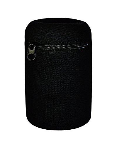 JayPee Multifunktions-Schweißband mit praktischer Tasche und Reißverschluss/Ski Armband - Geldbeutel (schwarz (XL)) -