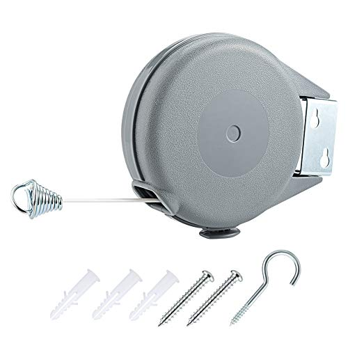 Irich Retractable Clothes Line, Washing Line Clothes Airer Wall Mounted 12M for Shower Room Bathroom Garden Balcony Outdoor