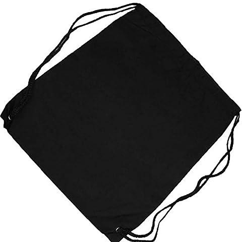 Pinzhi Basic DrawString Storage Tote Cinch Sack Travel School Rucksack Tasche schwarz