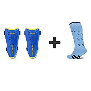 Vector X Combo of Soccer Socks & Shinpads (LIGHT BLUE SOCKS-BRASIL SHINPAD, L)
