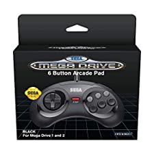 Retro-Bit Official SEGA Mega Drive Controller 6-Button Arcade Pad for Sega Mega Drive/Genesis - Original Port - Black