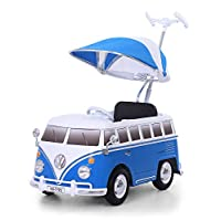 ROLLPLAY Push Car with Adjustable Footrest, For Children 1 Year and Older, Up to 20 kg, VW Bus T1 (Type 2), Blue