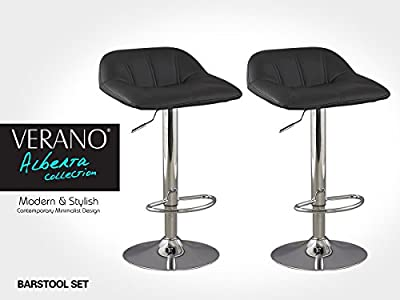 Verano® Bar Stools Faux Leather Counter Height Gas Lift Barstools Kitchen Stools New Chair Sets 2pc - inexpensive UK bar stool shop.