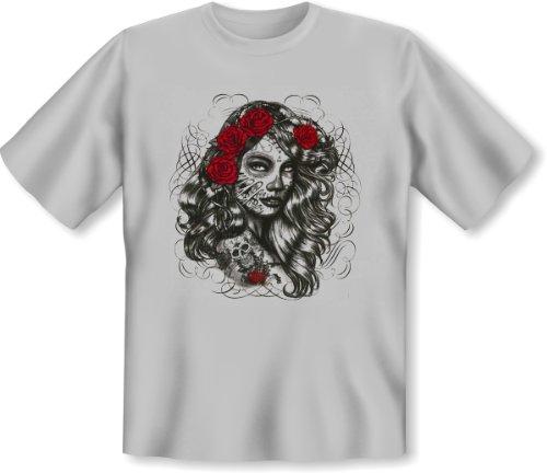 Mexika Stuff - Damen und Herren T-Shirt mit dem Motiv: Dia de los muertos girl Größe: Farbe: grau - von van Petersen Shirts Grau