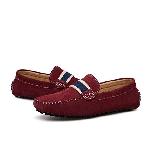 Minitoo Mocassin/chaussures bateau simples et décontractées à rayures En Denim et daim Rouge - rouge