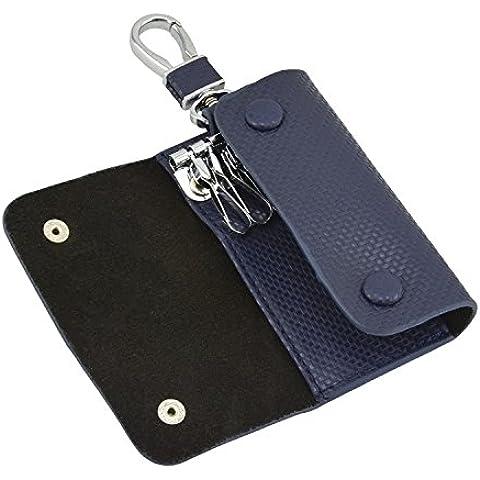 Rancco? Plaid Split-Custodia a fondina in pelle, con catena portachiavi/porta, con 6 ganci, in acciaio INOX, a chiave, colore: blu scuro