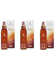 Nature's Arga 'huile solaire spray Invisible SPF30viso-corpo-capelli 3boîtes de 150ml ne unge, avec accélérateur...