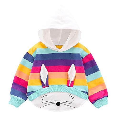 Baby Kleidung Kapuzenpullover Kaninchen Ohren Langarm Kleinkind Kinder Baby Mädchen Gestreiften Regenbogen Cartoon Kapuzen Tops Sweatshirt Mantel Pwtchenty