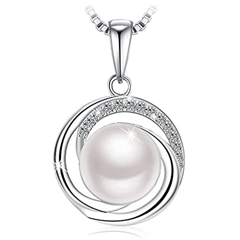 Pearl Necklace, 925 Sterling Silver Pearl Zirconia J.Rosée
