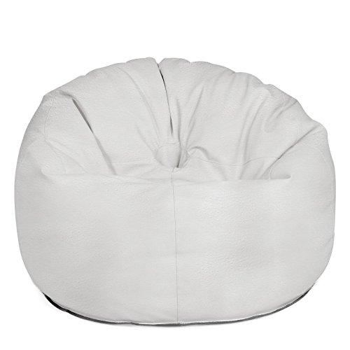 Outdoor Sitzsack Sessel 'Donut Deluxe' hochwertige Lederoptik wetterfest frostsicher Hocker Gartenstuhl Gartensessel Gartenliege für draußen Outdoor Lounge Gartenmöbel moderner Look (Deluxe White)