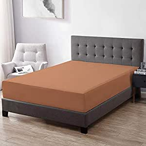Trance Home Linen Cotton Waterproof and Dustproof Mattress Protector -Small King Size, 72X72-inch, Brown