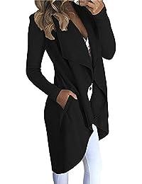M-Queen Donna Cardigan Risvolto Bordo Irregolare Cappotti Manica Lunga  Caldo Cappotto Lungo Con Tasche 09554a302b1