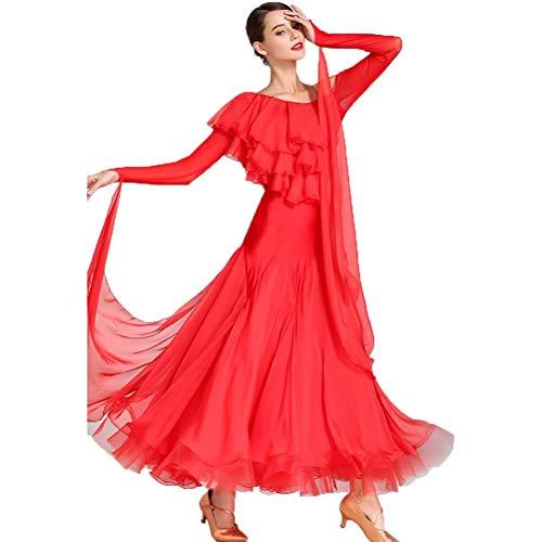 Lange Ärmel Schräger Kragen Ballsaal Performance Tanzkleider Einfach Einfarbig Strapless National Modern Tango Elastic Kleid Chiffon-Garn Tolle ()