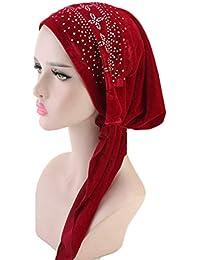 BDSWDSRT Sciarpa di testa di donne autunno inverno caldo sciarpa musulmano  Stretch cappello di turbante di 70343950b1ed