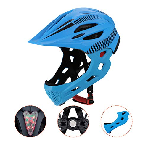 Casco Cycling per Bambini, Casco Integrale, con Mento Staccabile Traspirante for Bici MTB BMX Climbing (Blu)