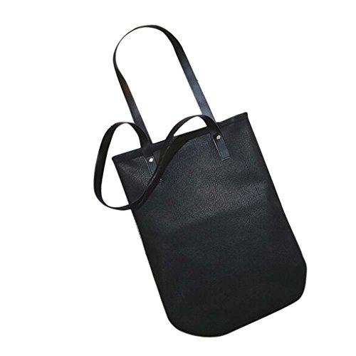 Bolso Bandolera Bolsa de hombro de Piel XXL Grande Negro para Mujer y Shoppers por ESAILQ C