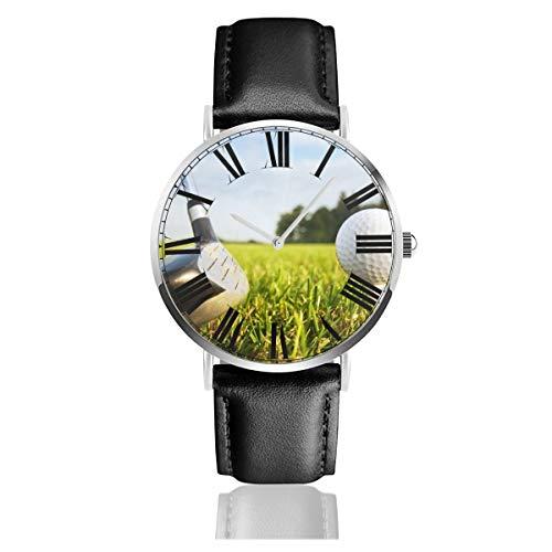 PecoStar Unisex-Armbanduhr mit Lederarmband für Golfschläger und Bälle, Legerer Edelstahl, Quarz, Luxuskleid, Business-Analog-Armbanduhr mit 38 mm Gehäuse und dünnem Zifferblatt
