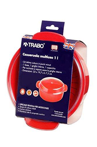 TRABO Casseruola per microonde vaporiera Capacità 1 Litro col Rosso EZ002