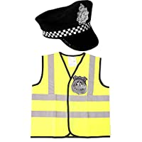 KIDS CHILDRENS POLICEMAN SET WITH HIGH VIZ VEST, POLICE HAT, HANDCUFFS AND A POLICE BADGE IN SIZES SMALL (UK 4-6), MEDIUM (UK 5-9), LARGE (UK 10-14). FANCY DRESS POLICE COP COSTUME BOYS GIRLS