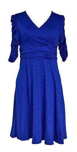 La Vogue Robe Midi Patineuse Manche Courte Col V Cache Cœur Été Femme Bleu