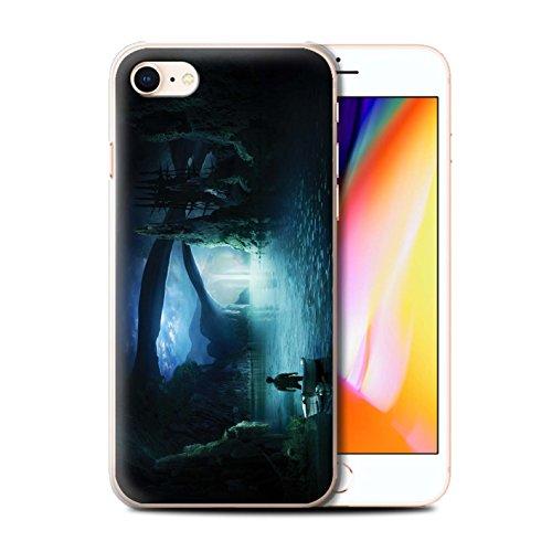 Officiel Elena Dudina Coque / Etui pour Apple iPhone 8 / Endroit Calme Design / Fantaisie Paysage Collection Nuit Bateau Voyage