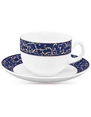 66b1123c365 LaOpala Diva Sovrana Anassa Glass Cup and Saucer (Blue-White) Set of 6