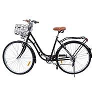 Ridgeyard 28 pouces Vélos de ville pour homme femme 7 vitesses Femme City Bike Outdoor Sports City vélo Shopper vélo Light Blue + basket + Bell + batterie-alimenté lumière
